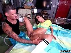 Tough tattooed white guy is caressing awesome ebony babe, making her wet.