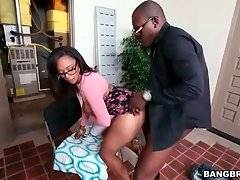 Slutty curvaceous black chick gets fucked from the rear.